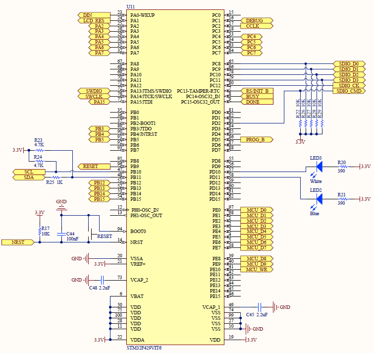 the mcu is the counterparty to the fpga in this design and you can easily see the opposing ends of some of the signals for example i map the whole 10 bit