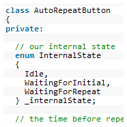 Debounced buttons with auto-repeat in AVR C++